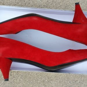 Sigerson Morrison Shoes - Red Kitten Heel Shoes
